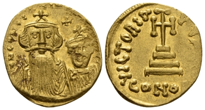Constans II, 641-668 and associate rulers. Solidus Constantinopolis circa 654-659 (Starting Bid £ 160)