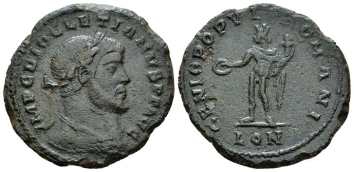 Diocletian, 284-305 Follis London circa 297 From the P.J. Casey collection. (Starting Bid £ 150)