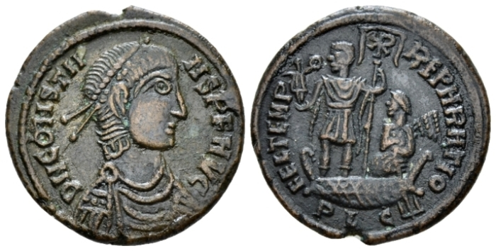 Constans, 337-350 Barbaric imitation follis Lugdunum circa 348-350 - From an old Canadian collection. (Starting Bid £ 30*)