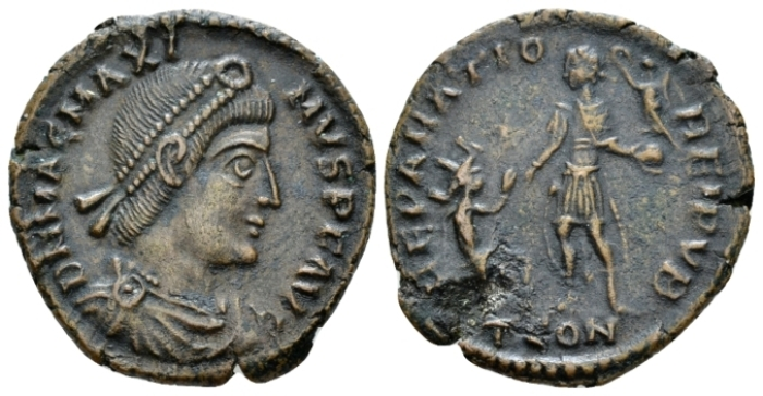 Magnus Maximus, 383-388 Æ1 Arles circa 383-388 - From an old Canadian collection. (Starting Bid £ 25*)