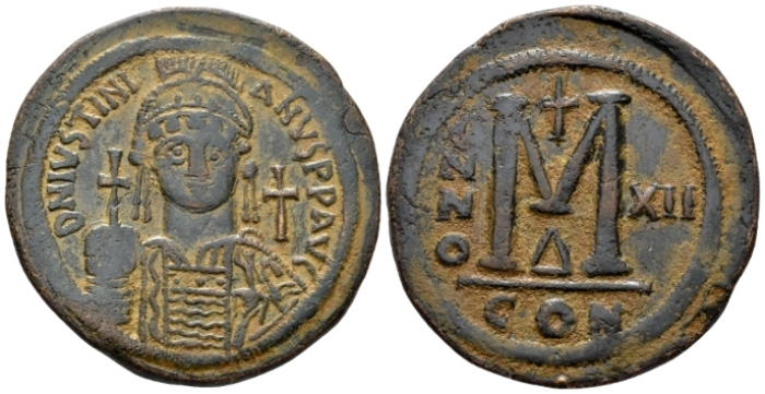 Justinian I, 1 August 527 – 14 November 565 Follis circa 538-539 (year 12) - From an old Canadian collection. (Starting Bid £ 50*)