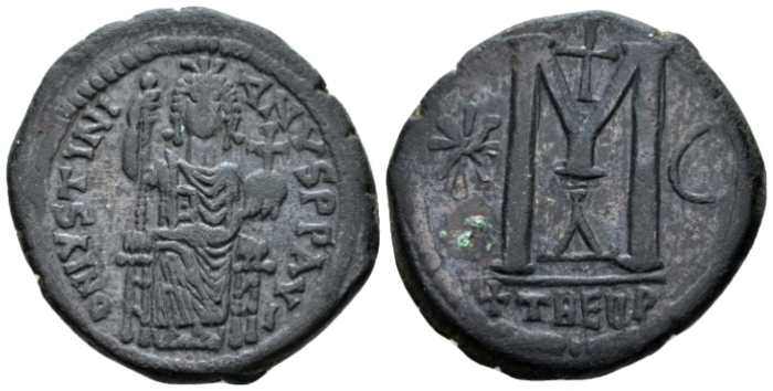 Justinian I, 527-565. Follis Theoupolis (Antiochia) circa 527-565 - From an old Canadian collection. (Starting Bid £ 50*)