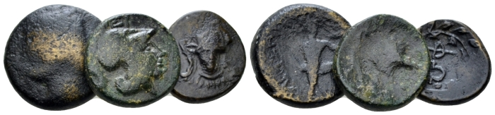 Phocis, Locris, Skarpheia and Phocis. Lot of 3 Bronzes IV cent. - From the duplicates of the BCD collection. (Starting Bid £ 30 )