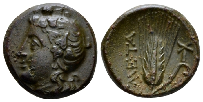 Lucania, Metapontum Bronze circa 300-250 - Ex Roma Numismatics e-sale 57, 77. From the estate of a Genevois collector, via Chaponnière & Firmenich SA. (Starting Bid £ 35 )