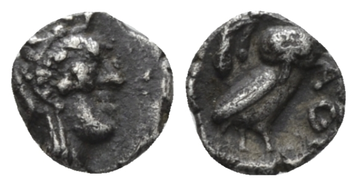 Attica, Athens Hemiobol after 449 BC - From the E.E. Clain-Stefanelli collection. (Starting Bid £ 80 *)