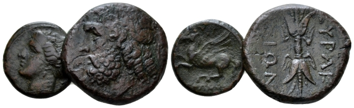 Sicily, Syracuse Lot of 2 Bronzes circa 275-216 - From the E.E. Clain-Stefanelli collection. (Starting Bid £ 25 *)