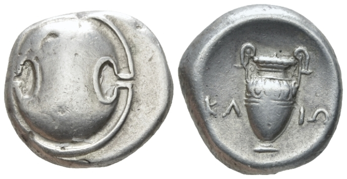 Boeotia, Federal Coinage, Stater Klio, magistrate circa 379-338 BC Thebes Stater circa 379-338 (Starting Bid £ 100 )