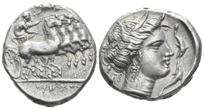 The Carthaginians in Sicily and North Africa, Ršmlqrt mint (Lilybaion ?) Tetradrachm circa 325-300 - Ex NAC sale 88, 2015, 573 (Starting Bid £ 700 *)