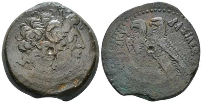The Ptolemies, Ptolemy VI, second period, joint reign with Ptolemy VIII, 170-164/3 and sole reign, 164/3-145 Alexandria Bronze circa 170-145 (Starting Bid £ 25 )