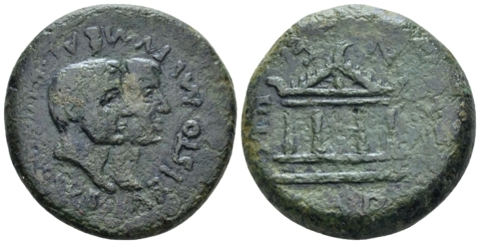 Island of Sicily, Sardinia. Ceralis. Aristo–, Mutumbal, and Ricoce, suffetes. Bronze circa 40 BC (Starting Bid £ 200 *)