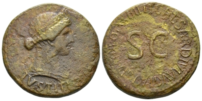 In the name of Livia, wife of Augustus Dupondius circa 21-22 (Starting Bid £ 50)