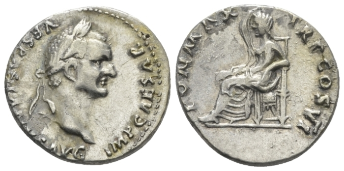 Vespasian, 69-79 Plated denarius circa 75 (Starting Bid £ 70*)