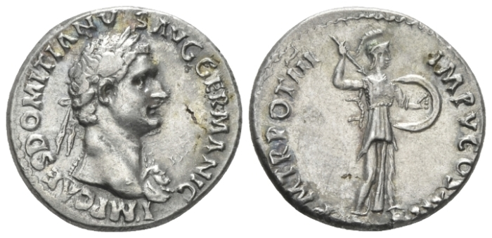 Domitian, 81-96 Denarius circa 84 - Variant not in RIC. (Starting Bid £ 70*)