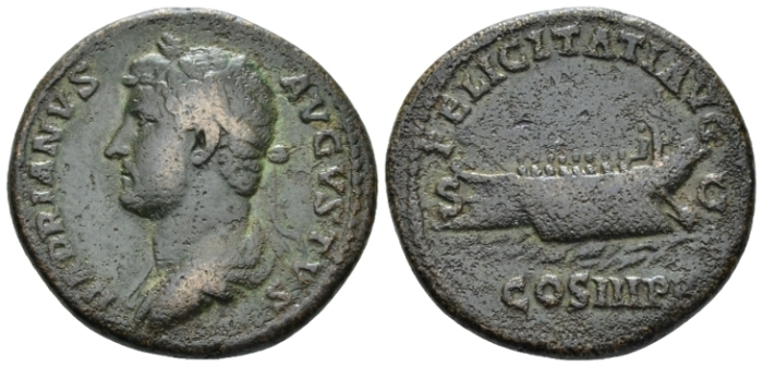 Hadrian, 117-138 As circa 129-130 (Starting Bid £ 40*)