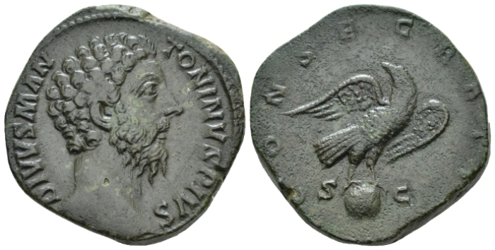 Divus Marcus Aurelius. Sestertius After 180 (Starting Bid £ 180*)