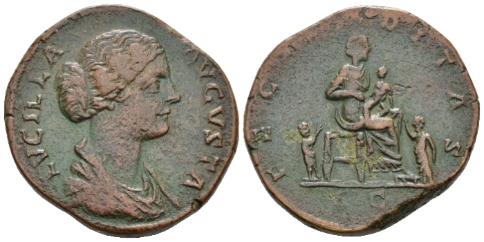 Lucilla, daughter of M. Aurelius and wife of Lucius Verus Sestertius circa 161-169 (Starting Bid £ 70*)