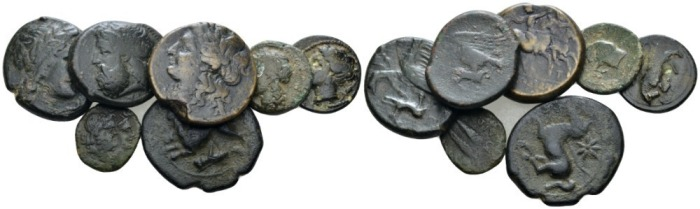 Sicily, Syracuse Lot of 7 bronzes IV-II cent - From the E.E. Clain-Stefanelli collection. (Starting Bid £ 45 *)